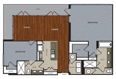 D9 Penthouse Floor Plan at Berkshire Riverview, Austin, 78741