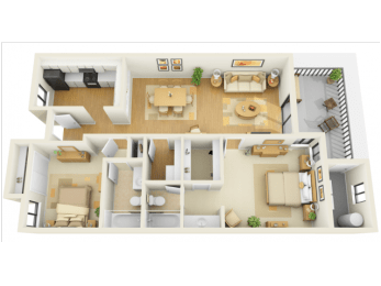 Bay Club 2 bedroom 1225 sq ft floor plan with kitchen, living/dining, 2 bedrooms, 2 bathrooms, closets, and patio/balcony and storage