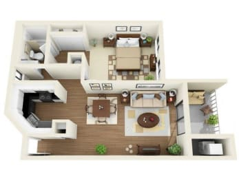 Coral Club 1 bedroom 834 sq ft floor plan with kitchen, dining/living, 1 bathroom, closets, balcony/patio and storage