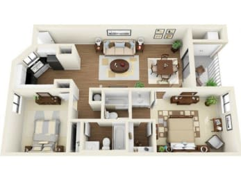 Coral Club 2 bedroom 1044 sq ft floor plan with kitchen, dining/living, 2 bathrooms, closets, balcony/patio and storage