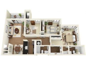 Coral Club 3 bedroom 1334 sq ft floor plan with kitchen, dining/living, 2 bathrooms, closets, balcony/patio and storage
