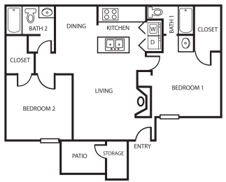 Enclave two bedroom, two bathroom 2B 2D floor plan