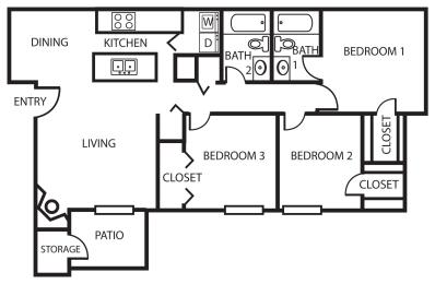 Enclave three bedroom, two bathroom 3A 2D floor plan, opens a dialog