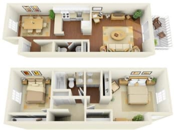 Legacy 2 bedroom 1150 sq ft floor plan with kitchen, dining/living, 1.5 bathrooms, closets, balcony/patio and storage
