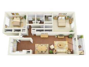 Legacy 2 bedroom 1275 sq ft floor plan with kitchen, dining/living, 2 bathrooms, closets, balcony/patio and storage