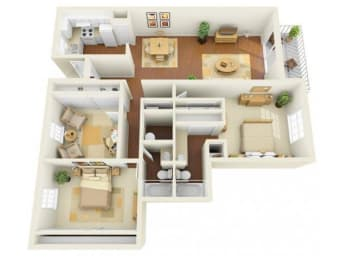 Legacy 3 bedroom 1500 sq ft floor plan with kitchen, dining/living, 2 bathrooms, closets, balcony/patio and storage
