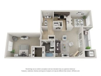 A2 3D Floor Plan at the Haven of Ann Arbor, MI, 48105
