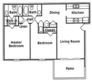 Floor Plan Ph 1 2Br 2Ba