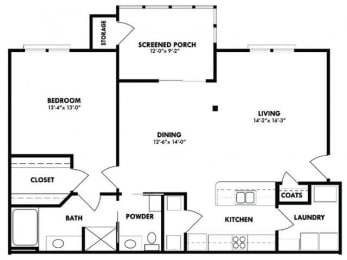 Floor Plan 1x1 with screen porch