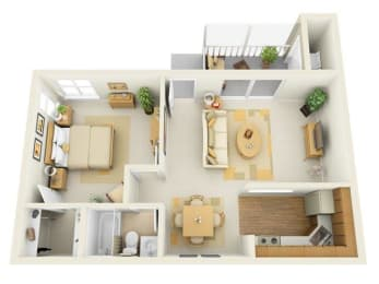 Lake in the Woods 1 bedroom 768 sq ft floor plan with kitchen, dining/living, 1 bathroom, closets, balcony/patio and storage