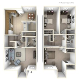 The Maple (Townhomes) Floor Plan at Cary Pines Apartments and Townhomes*, Cary, North Carolina, opens a dialog
