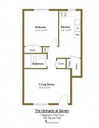 1 bedroom 1 bathroom first floor townhome at Orchards at Severn