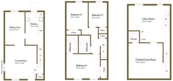 Floor Plan 3 Bedroom 2.5 Bathroom, opens a dialog