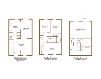 3 bedroom 2 full with 2 half bathroom floor plan at The Village of Pine Run Townhomes in Windsor Mill, MD