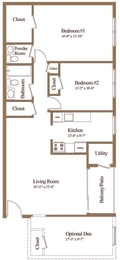 2 bedroom 1.5 bathroom with den floor plan at The Village of Pine Run Apartments in Windsor Mill, MD