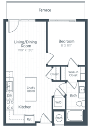 A2 Floor Plan at Highgate at the Mile, McLean, VA, 22102