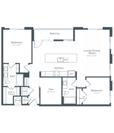 BD3 Floor Plan at Highgate at the Mile, McLean, Virginia