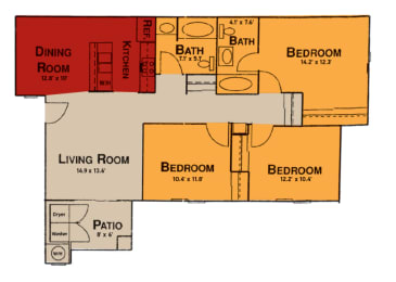 3x2 Floor Plan at Prelude at the Park, 501 East Lake Mead Parkway, opens a dialog