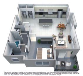 Drake 1 Bedroom 1 Bath Floorplan at Cycle Apartments, Ft. Collins,Colorado
