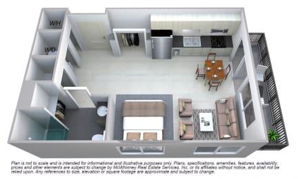 Grant - Studio Floor plan at Cycle Apartments, Coloradoq
