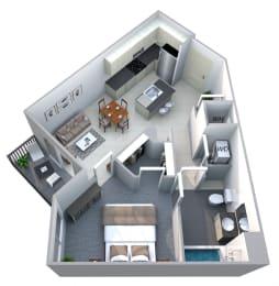 Harmony 1 Bedroom 1 Bath Floorplan at Cycle Apartments, Ft. Collins, CO