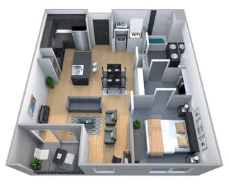 Lincoln 1 Bedroom 1 Bath Floorplan at Cycle Apartments, Ft. Collins, CO 80525