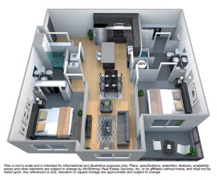 Magnolia 2 Bedroom 2 Bath Floorplan at Cycle Apartments, Ft. Collins, CO