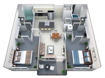 Overland 2 Bedroom 2 Bath Floorplan at Cycle Apartments, Colorado, 80525
