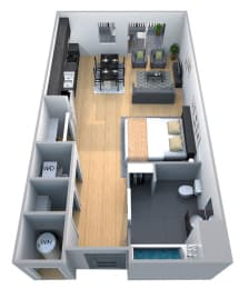 Stanford - Studio Floor Plan at Cycle Apartments, Ft. Collins