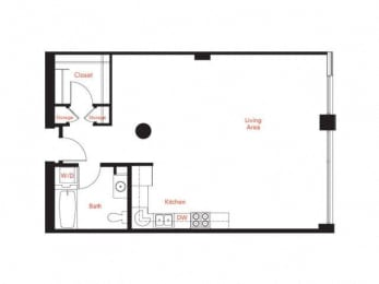 B-1 Floor Plan at Met Lofts, California, 90015