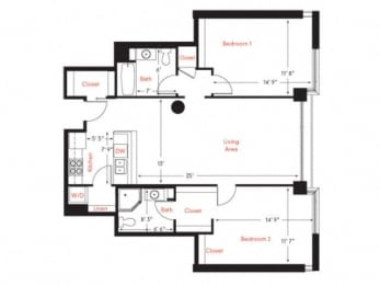 D-1 Floor Plan at Met Lofts, California