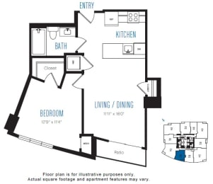 A10 1 Bed 1 Bath Floor Plan at Stratus, Seattle, WA