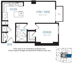 A13 1 Bed 1 Bath Floor Plan at Stratus, Seattle, WA