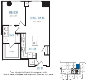 A5 1 Bed 1 Bath Floor Plan at Stratus, Seattle, WA