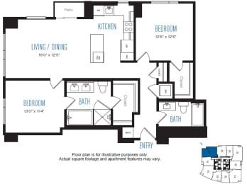 B4 2 Bed 2 Bath Floor Plan at Stratus, Seattle, WA
