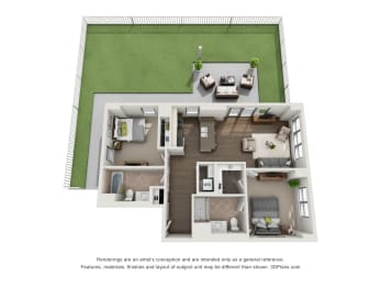 2 Bed 2 Bath Plan2A Floor Plan at The Madison at Racine, Illinois