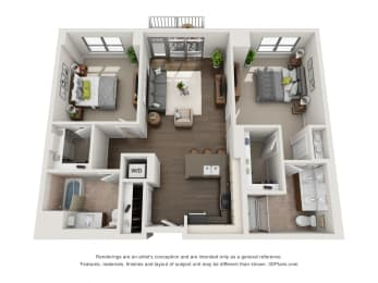 2 Bed 2 Bath Plan2B Floor Plan at The Madison at Racine, Chicago, IL