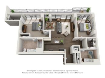 2 Bed 2 Bath Plan2G Floor Plan at The Madison at Racine, Chicago, Illinois