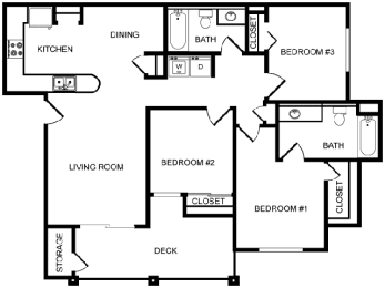 Desert Sands three bedroom floor plan.