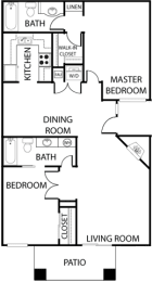 El Dorado Place two bedroom floor plan, opens a dialog