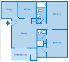 Estancia 2A Two Bedroom Floor Plan