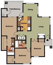 La Reserve three bedroom 3A 2D Floor Plan