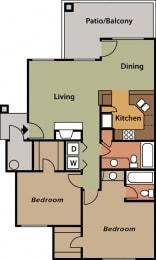 La Reserve two bedroom apartment 2B 2D floor plan