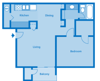 Sycamore Creek 1 Bedroom Floor Plan 700 Sq. Ft.