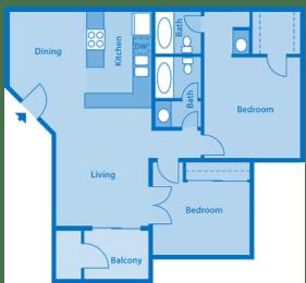 Sycamore Creek 2 Bedroom Floor Plan with Den, opens a dialog