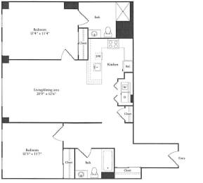 Floor Plan 1,097 sq. ft. (H)