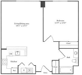 Floor Plan 701 sq. ft.