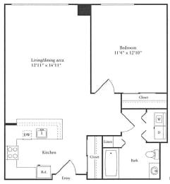 Floor Plan 727 sq. ft.