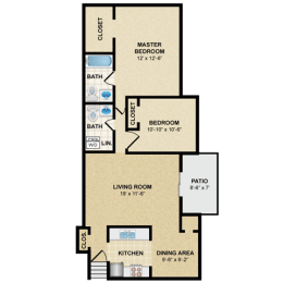 Floor Plan 2 BED 2 BATH