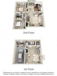 Floor Plan 3 Bed 1.5 Bath Townhome